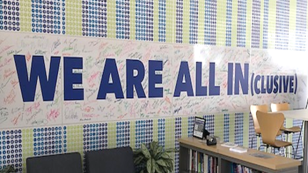 Inclusion and Diversity Wall with Signatures at Baxter HQ